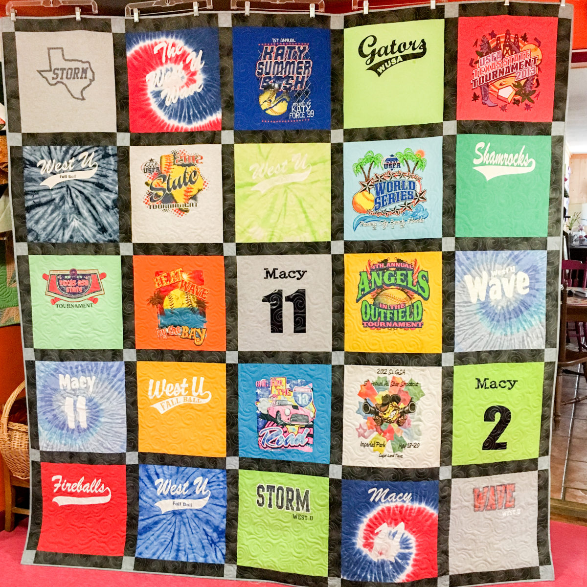 This is a T-Shirt quilts made from Little league baseball T-Shirts the quilt is made by The Quilt Rambler